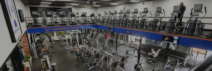 large and spacious two story gym with modern equipment